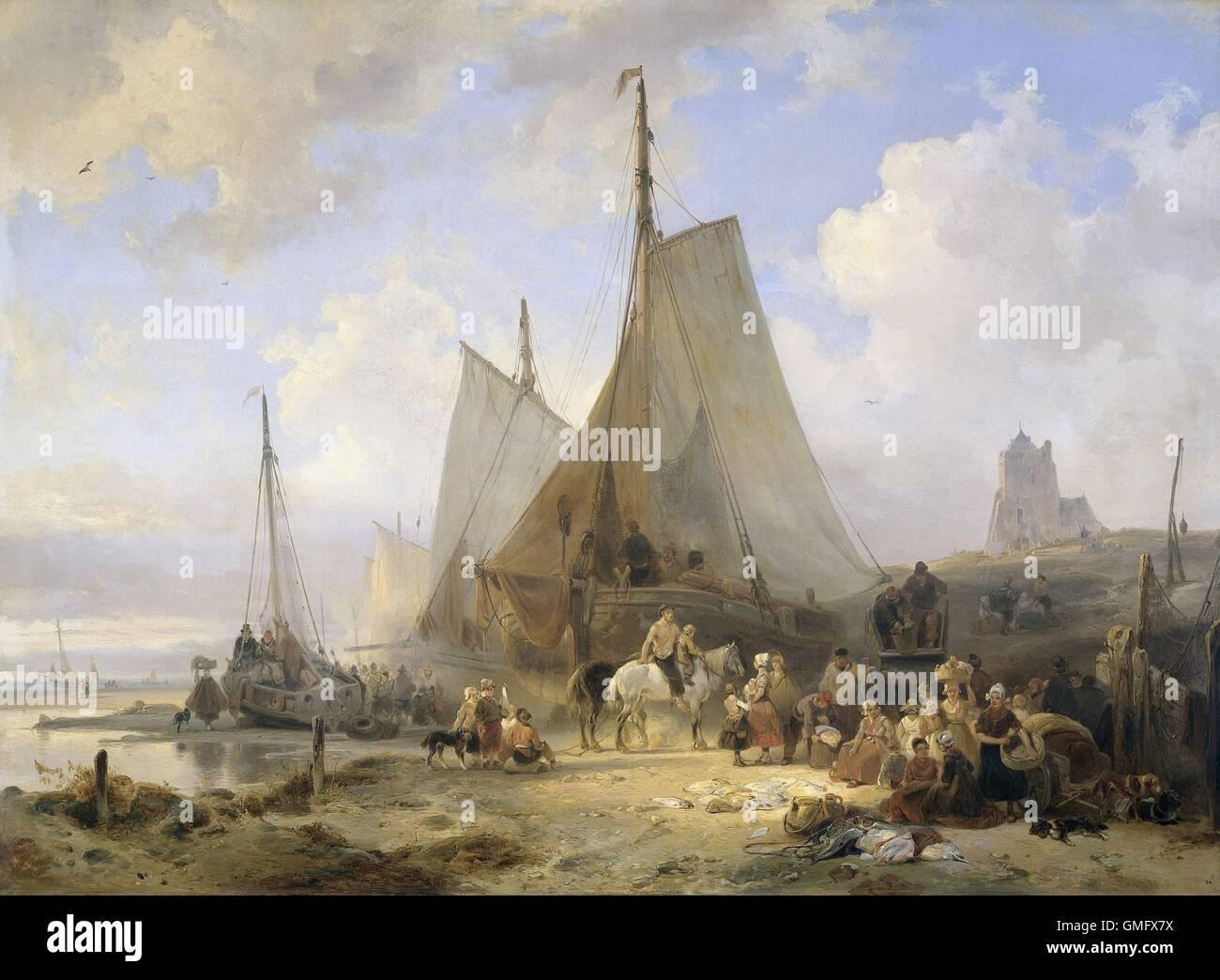 Barche di pescatori sulla spiaggia con i pescatori e le donne la cernita del pescato, da Wijnand Nuijen, 1835, pittura Immagini Stock
