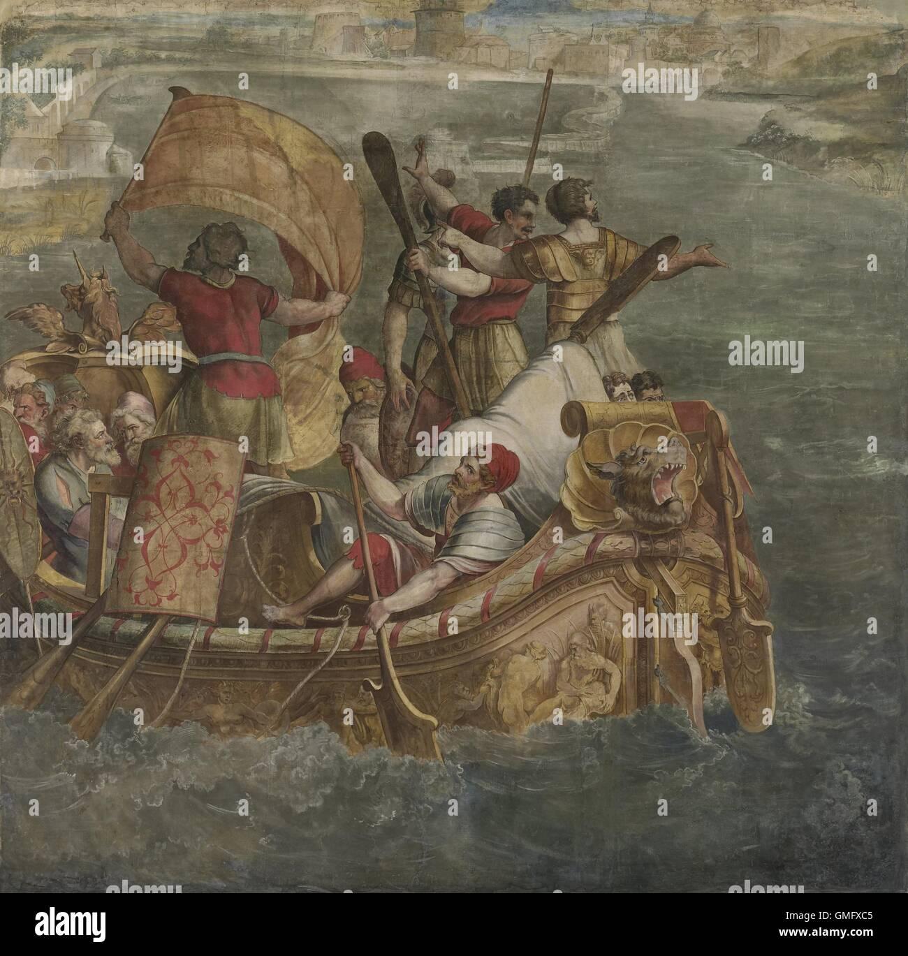 Sbarco van Scipione l'africano a Cartagine, da Coxie, Michiel, c. 1555, fiammingo gouache pittura. Ha invaso Immagini Stock