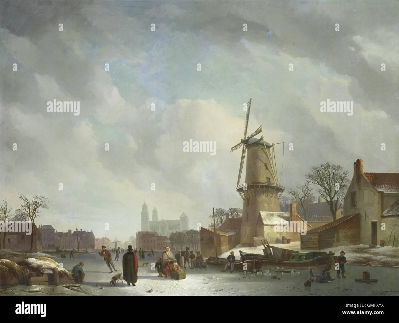 Scorazzare su un canale congelati in una città, Abramo Couwenberg, 1830-37, olandese la pittura ad olio su Immagini Stock
