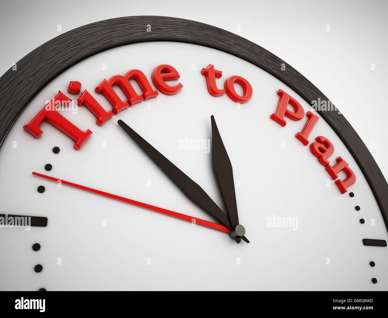 Tempo per pianificare una frase sulla orologio. 3D'illustrazione. Immagini Stock