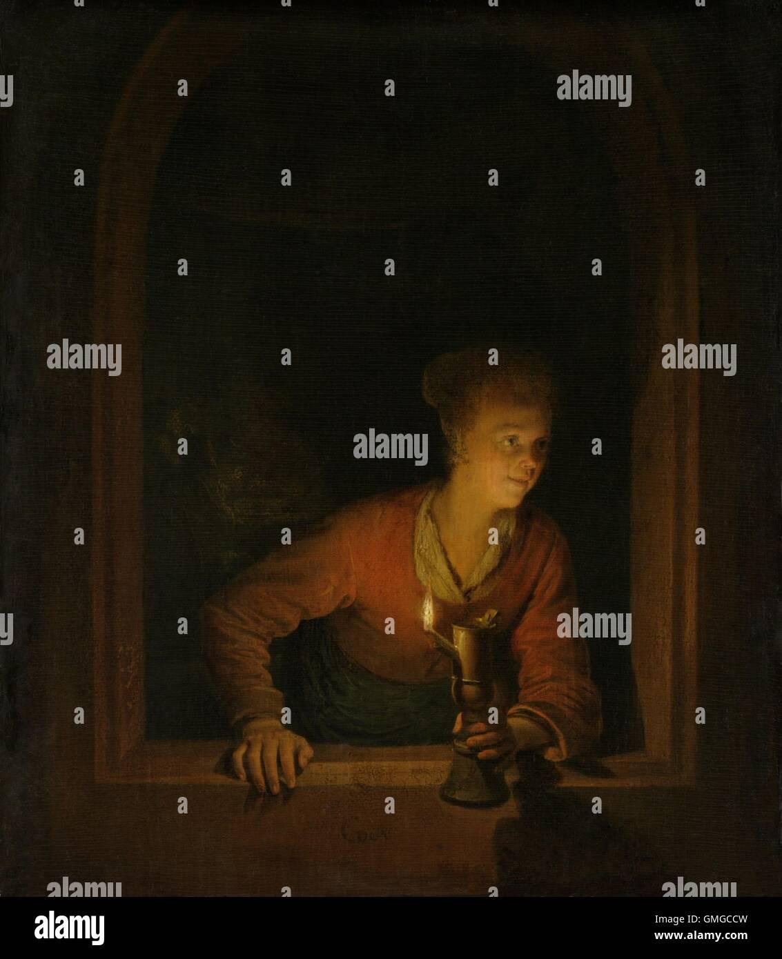 Ragazza con una lampada ad olio in corrispondenza di una finestra, da Gerard Dou, 1645-75, pittura olandese, olio Immagini Stock