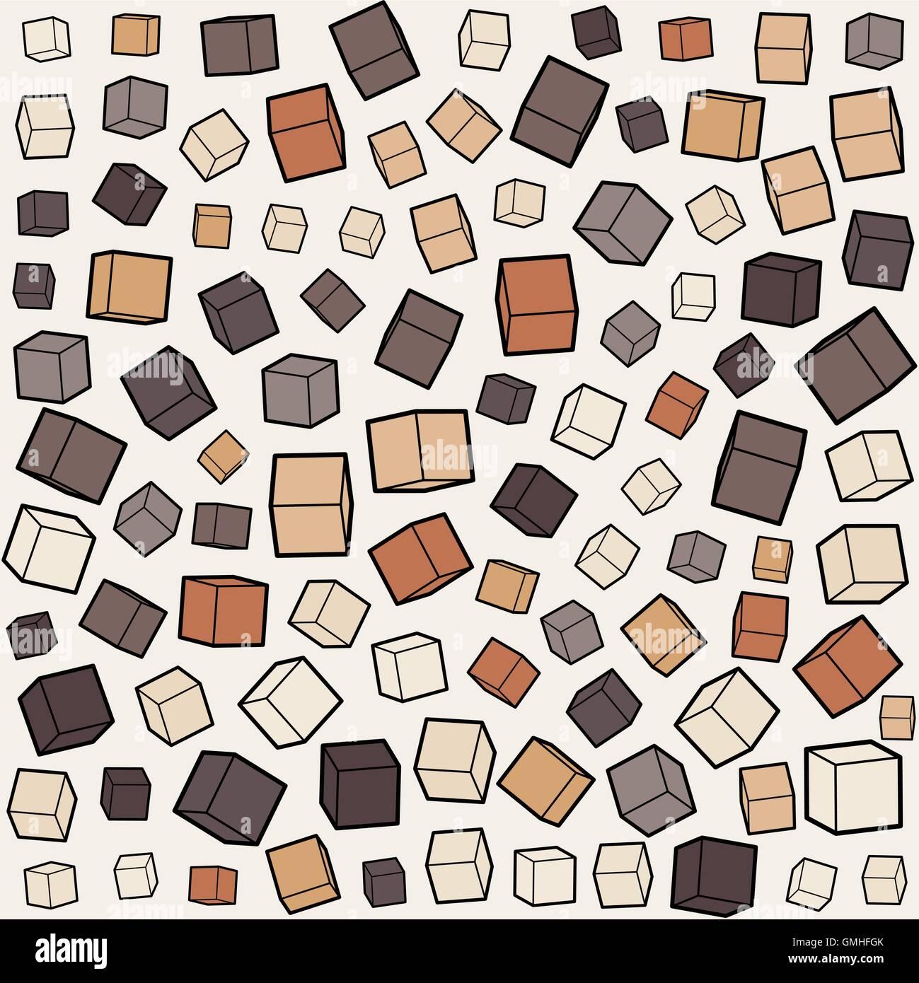 Vettore casella senza giunture cubo scala casuale accozzaglia Pattern Immagini Stock