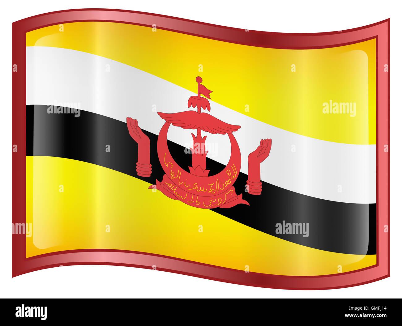 Brunei icona bandiera. Immagini Stock