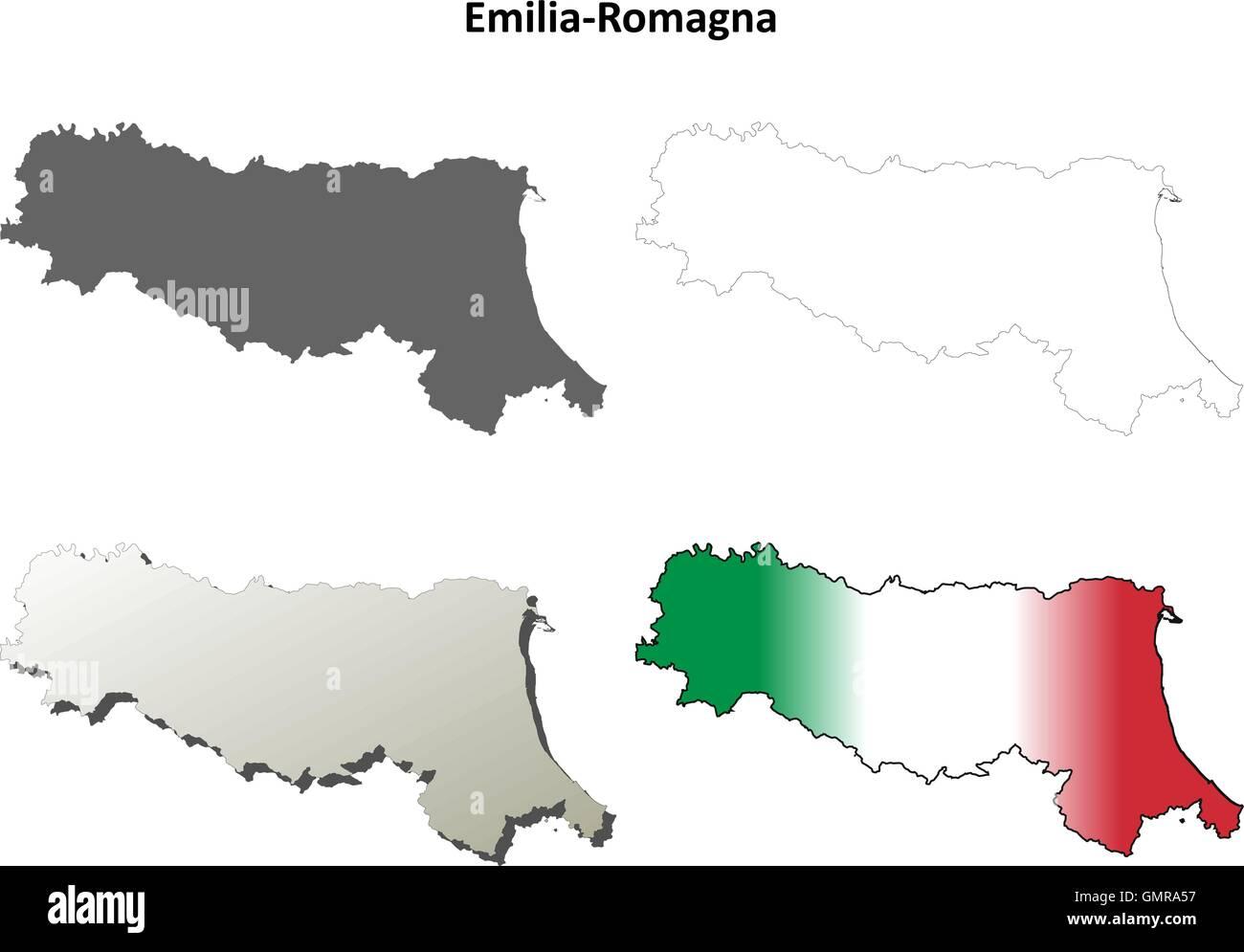 Emilia Romagna Cartina Dettagliata.Emilia Romagna Blank Dettagliata Mappa Di Contorno Impostato Immagine E Vettoriale Alamy