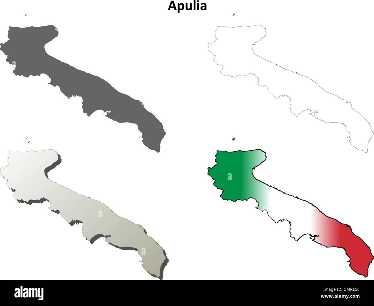 Cartina Dettagliata Puglia.Puglia Blank Dettagliata Mappa Di Contorno Impostato Immagine E Vettoriale Alamy