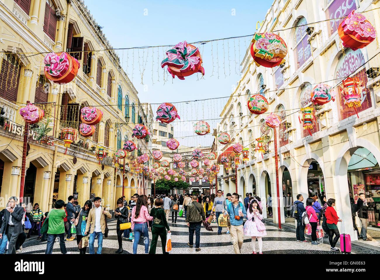 Leal Piazza Senado famosa attrazione turistica nel centro della vecchia città coloniale area di Macao Macao Immagini Stock