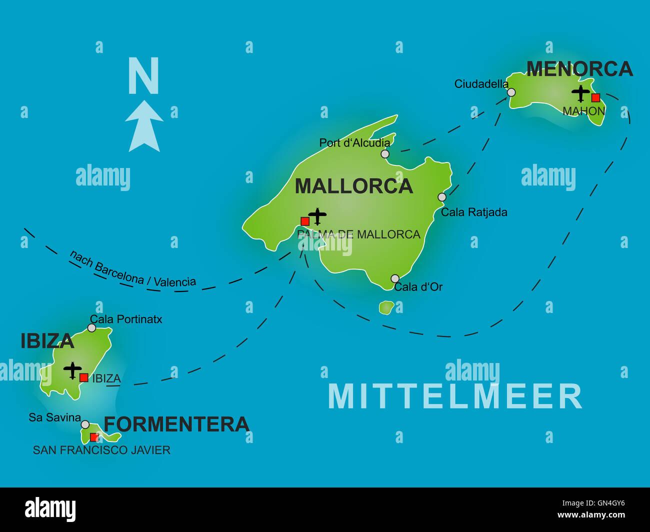 Cartina Geografica Spagna E Formentera.Mappa Delle Isole Baleari Foto Immagine Stock 116271098