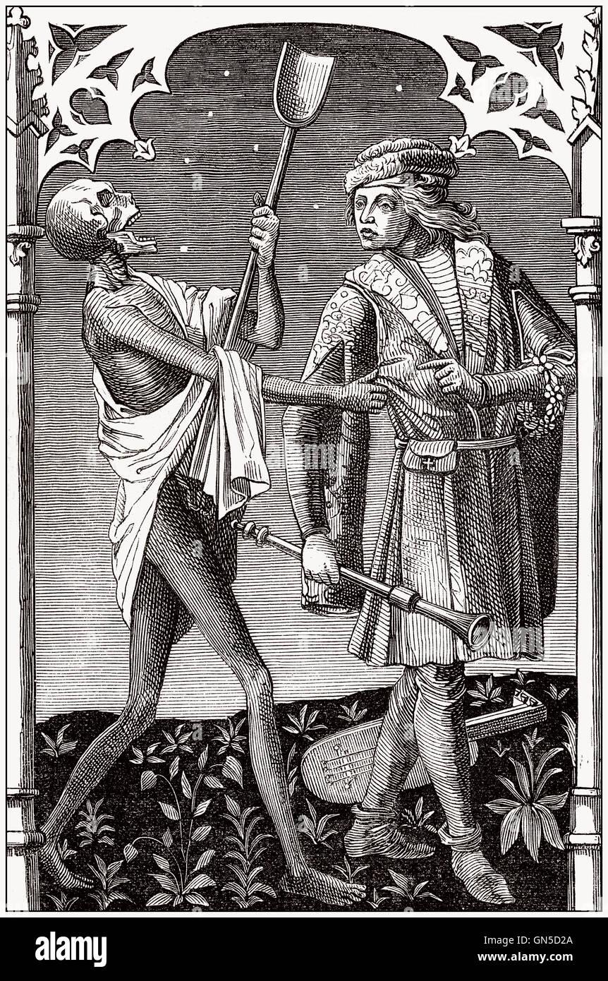 La morte e il menestrello, antica incisione Foto Stock