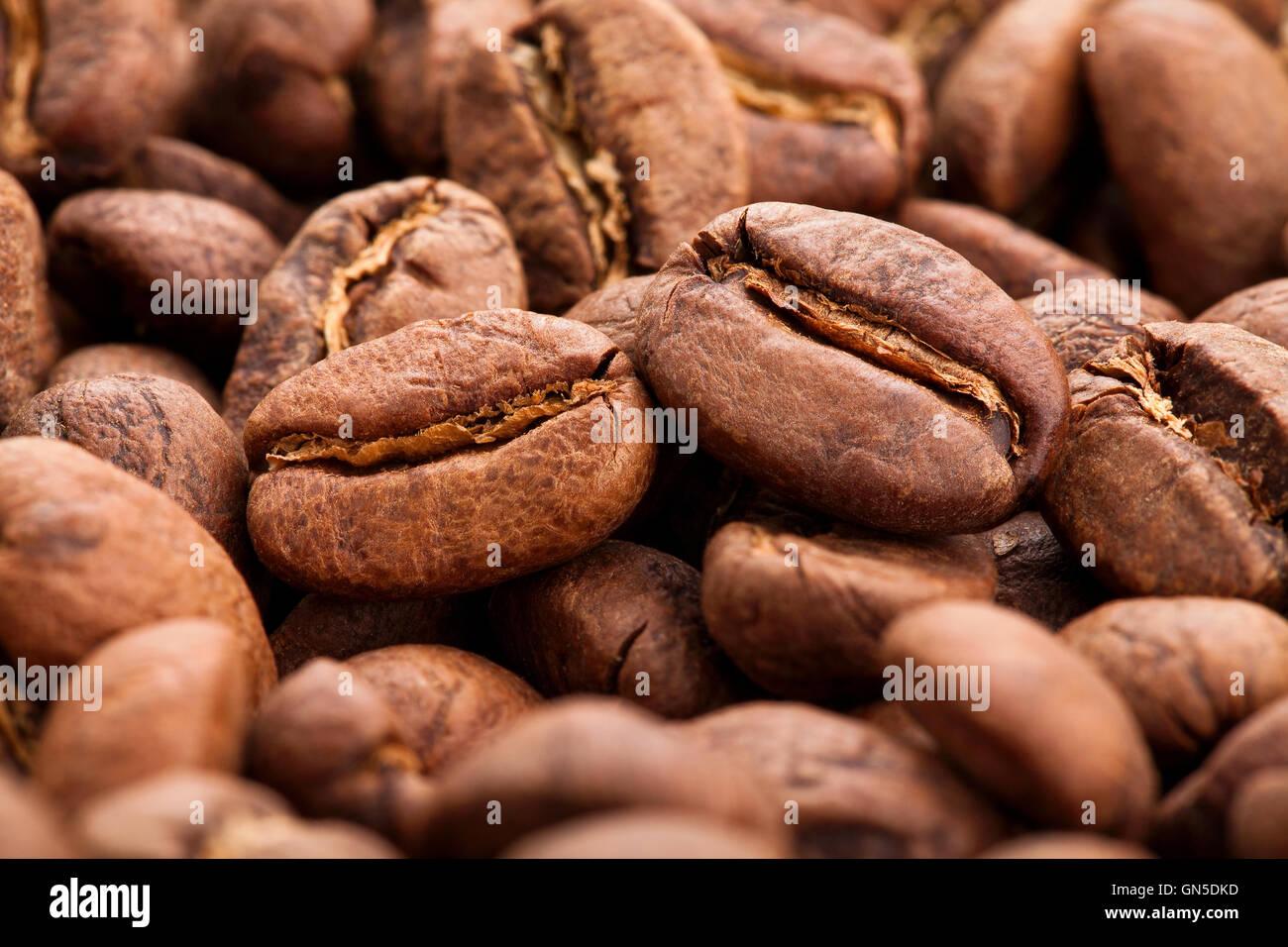 I chicchi di caffè macro Immagini Stock