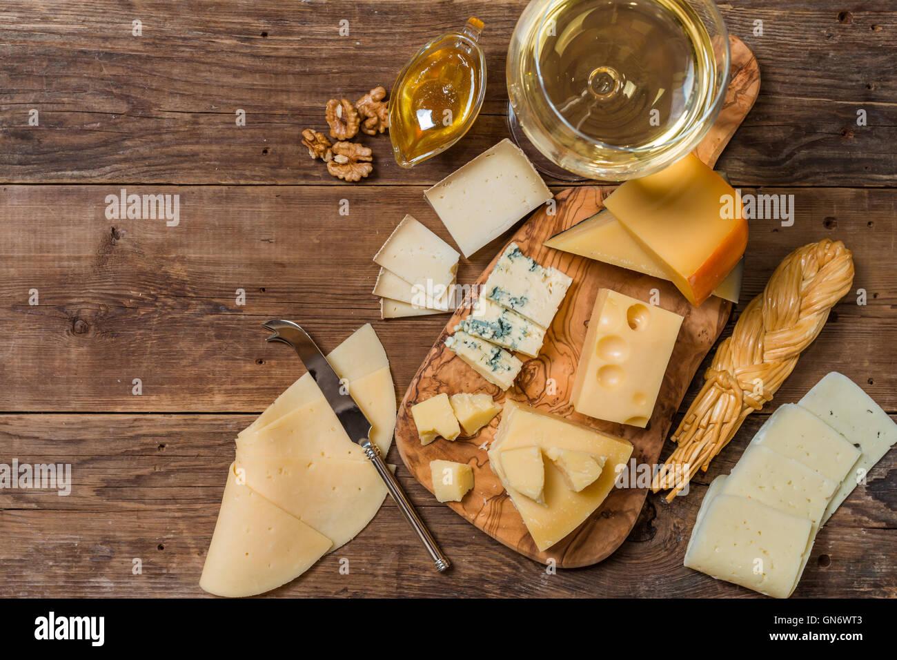 Vari tipi di formaggio Immagini Stock