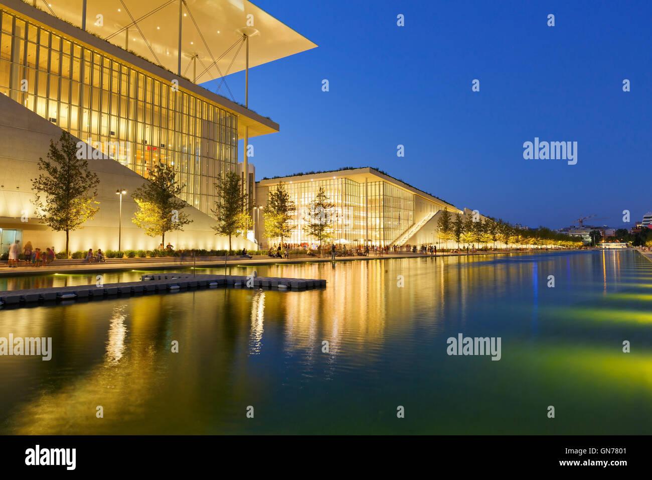 Vista di Stavros Niarchos Fondazione Centro Culturale nella città di Atene. Immagini Stock