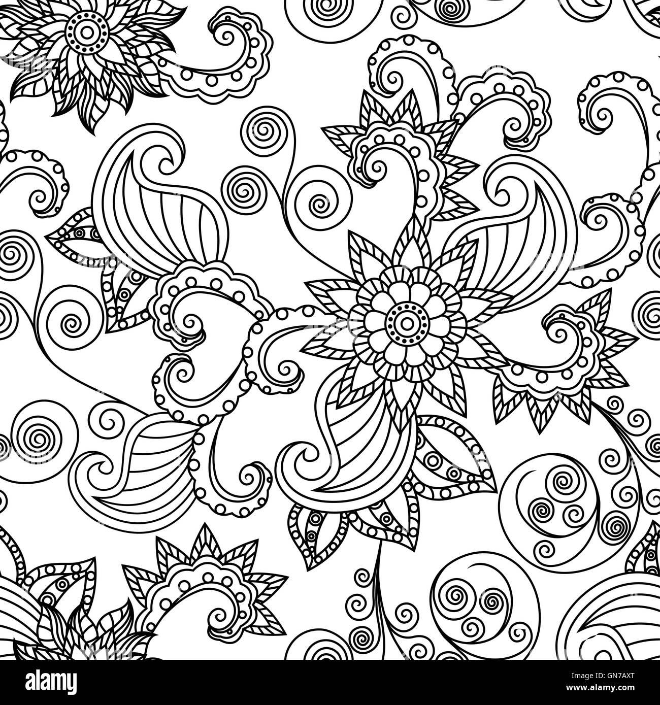 Senza Cuciture Ornamentali Floreali Disegno Vettoriale Con Contorni