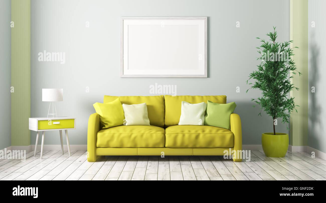 Interno del soggiorno con divano letto armadio in legno impianto