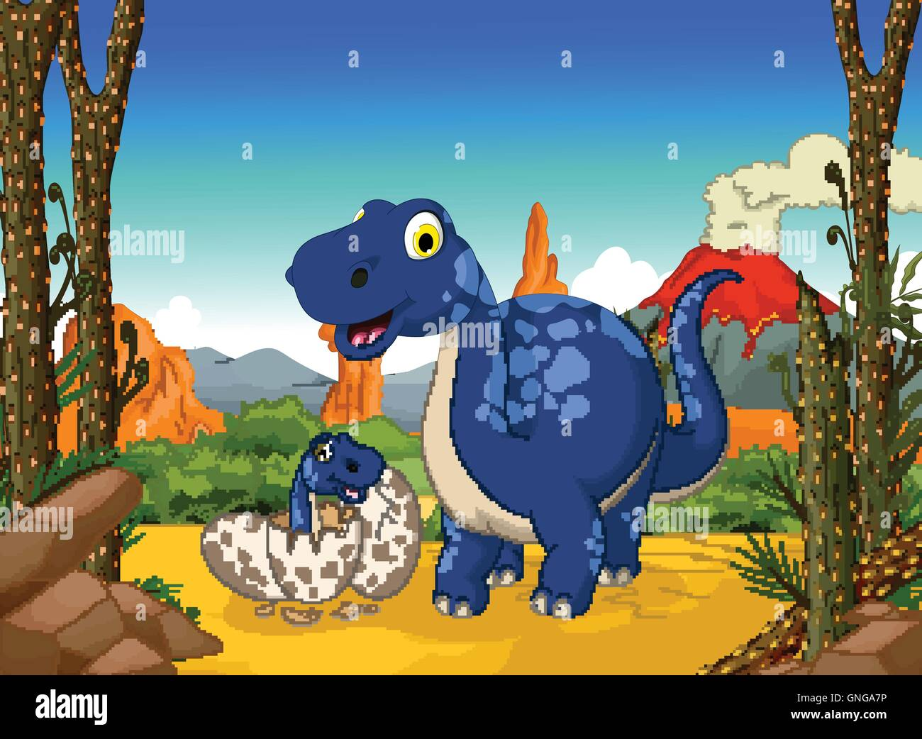 Funny dinosaur cartoon in jungle immagini