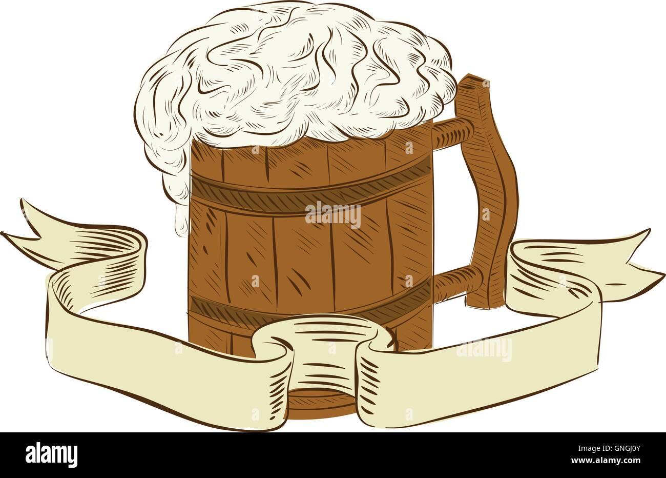 Medieval Boccale Di Birra Disegno Di Schiuma Illustrazione