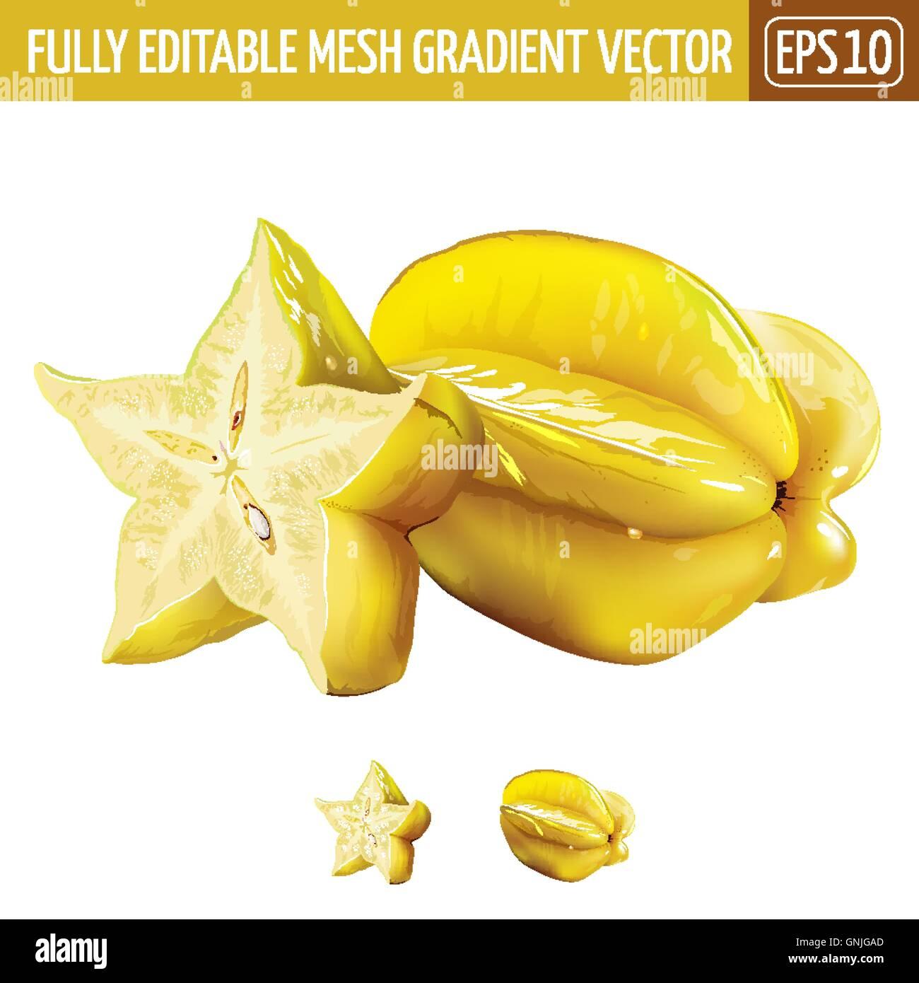 Carambole, starfruit su sfondo bianco. Illustrazione Vettoriale Immagini Stock