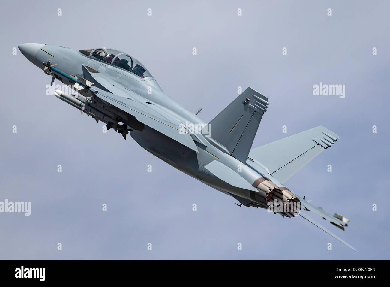 Marina degli Stati Uniti Boeing F/A-18F Super Hornet multirole Fighter Aircraft. Foto Stock