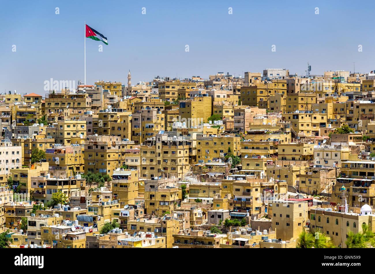 Panorama urbano di Amman in Giordania Immagini Stock