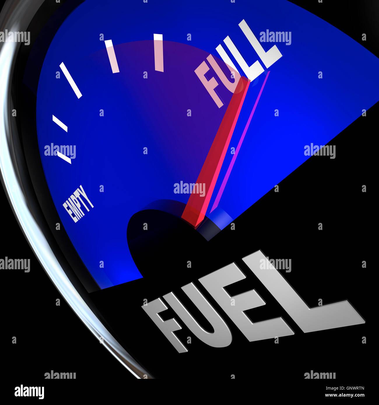 La lancetta del ricevitore livello carburante punti per il pieno del serbatoio del Gas Immagini Stock