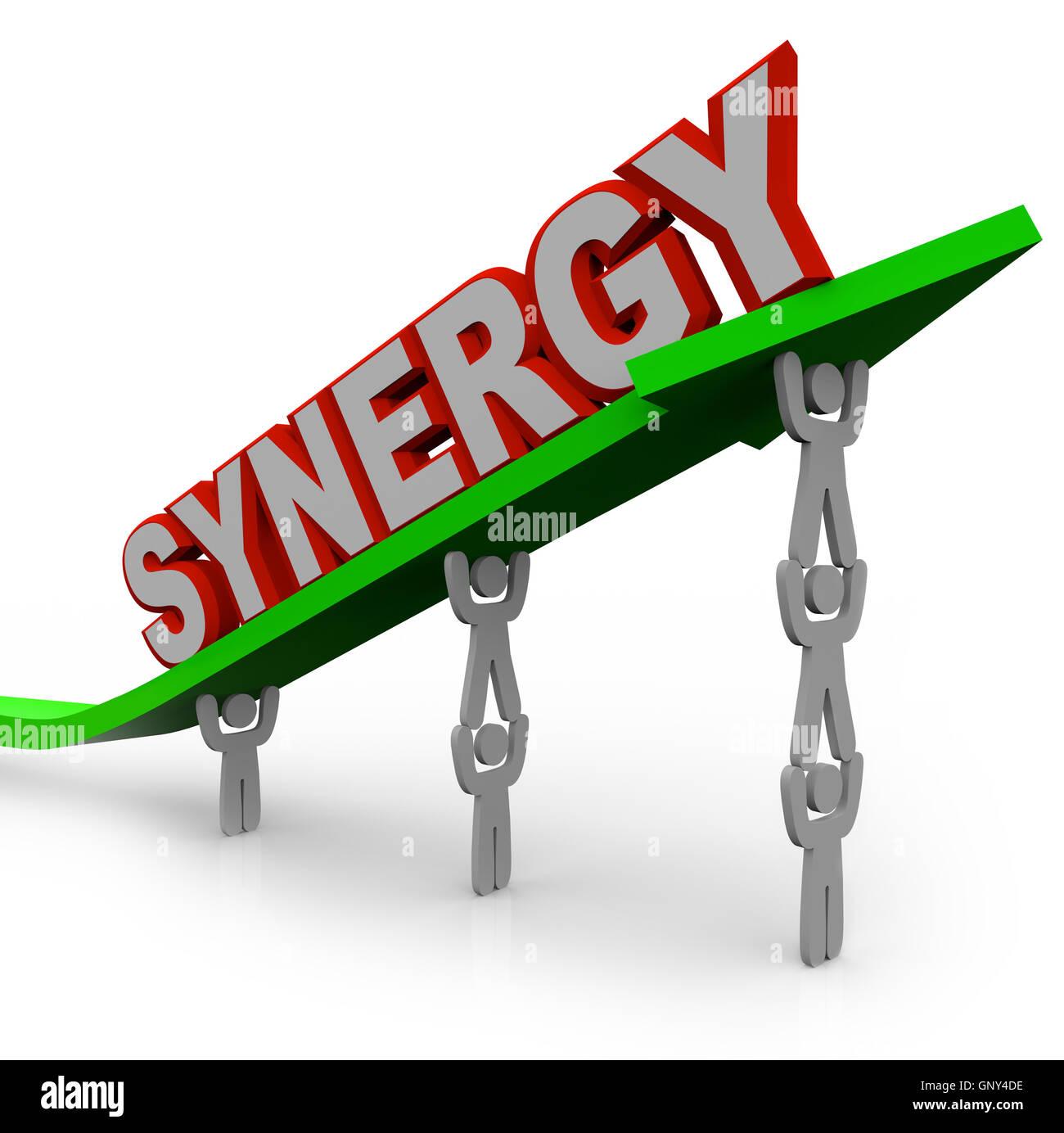 Synergy - Il lavoro di squadra di persone Partner per forza combinata Immagini Stock