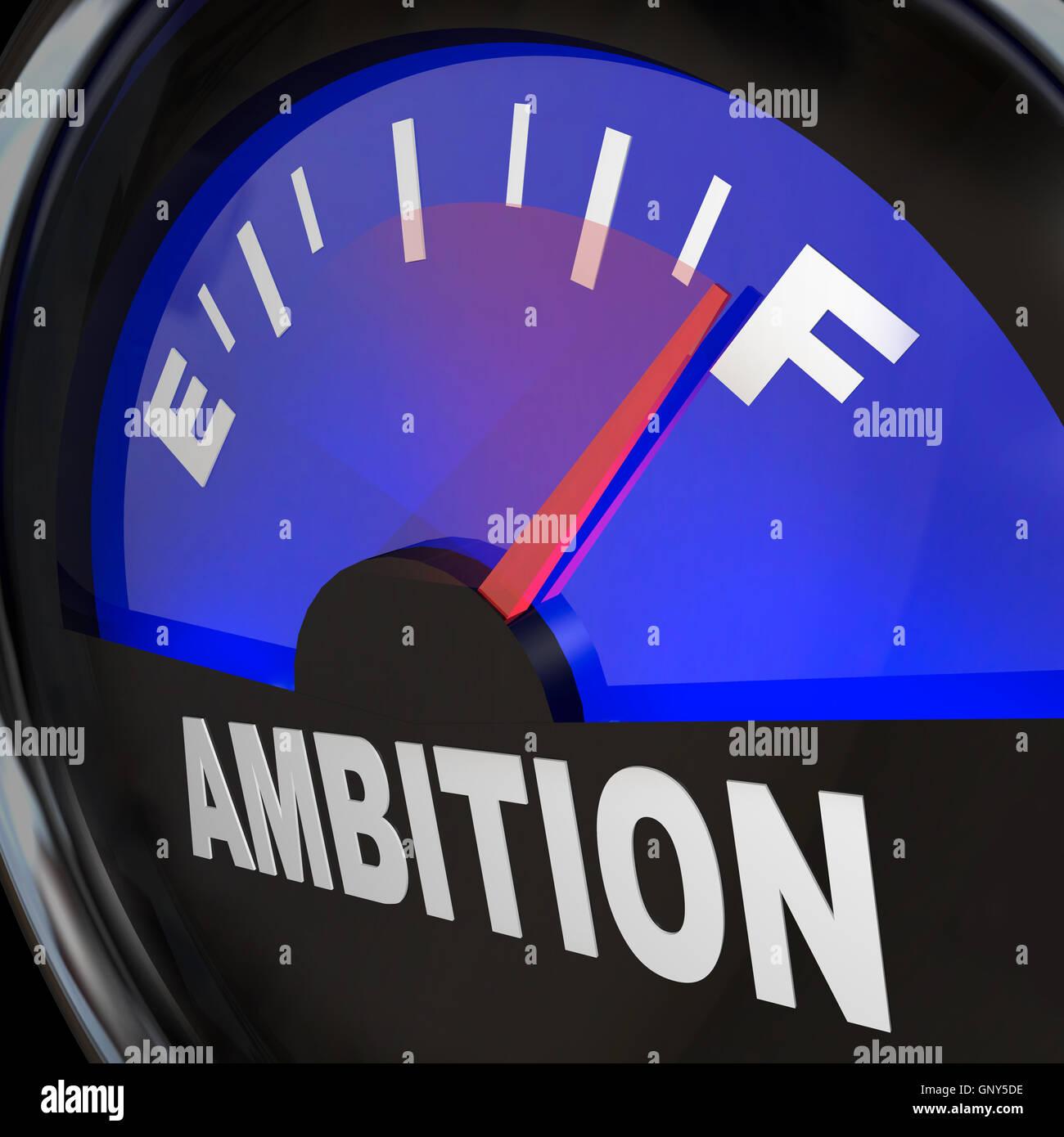 Indicatore di livello carburante ambizione entusiasmo di misurazione Immagini Stock