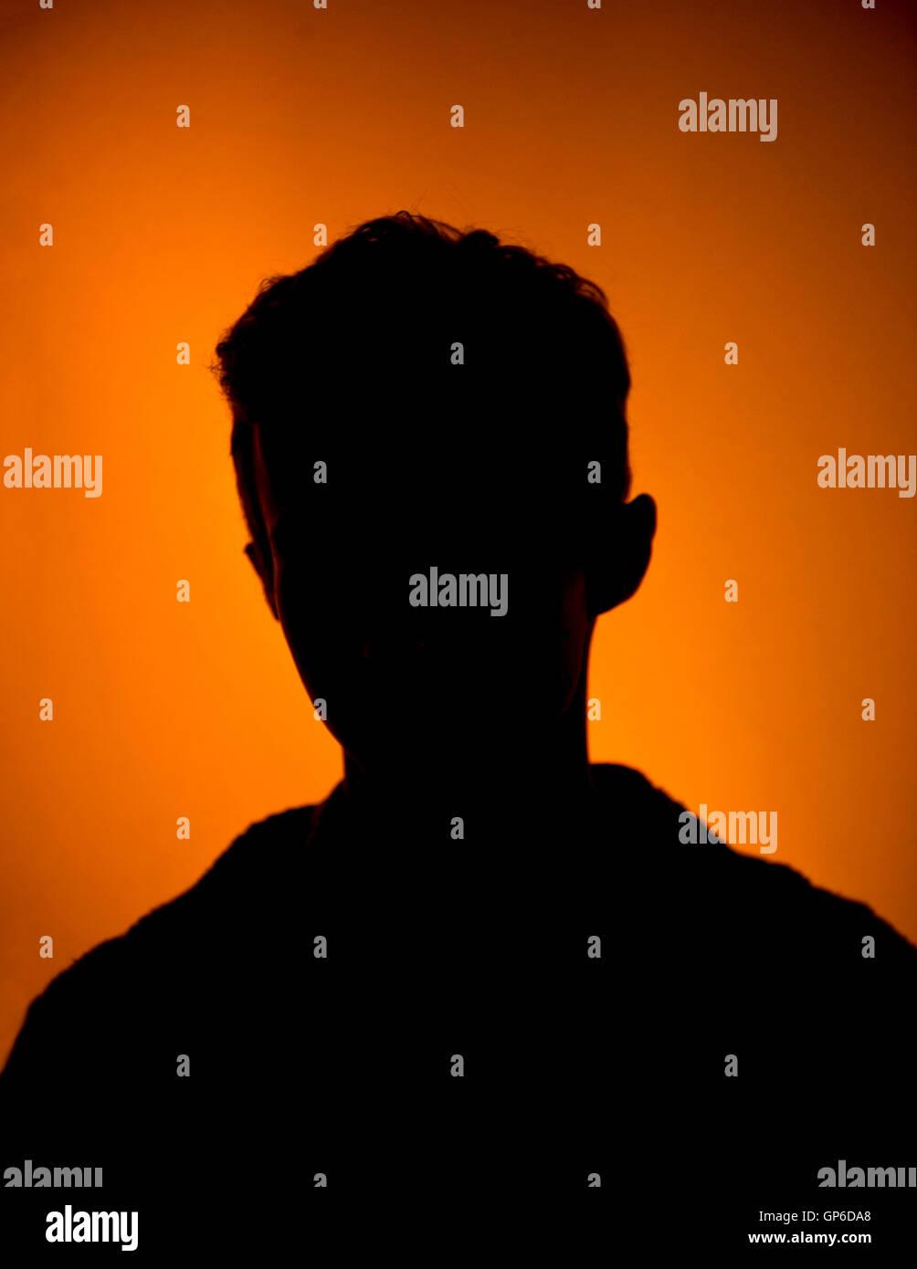 Giovani mans silhouette, avatar Immagini Stock