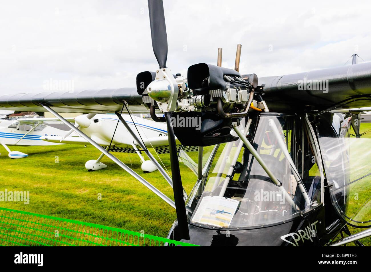 Jabiru Aeroporto 2200 quattro tempi a quattro piani, raffreddati ad aria motore aeronautico su un propulsore T600N Immagini Stock