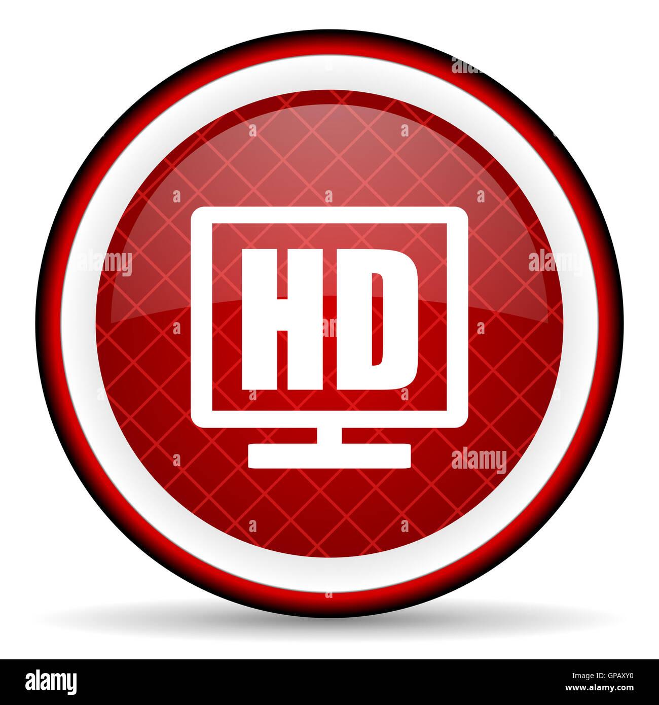 Display Hd Lucido Rosso Icona Su Sfondo Bianco Foto Immagine Stock