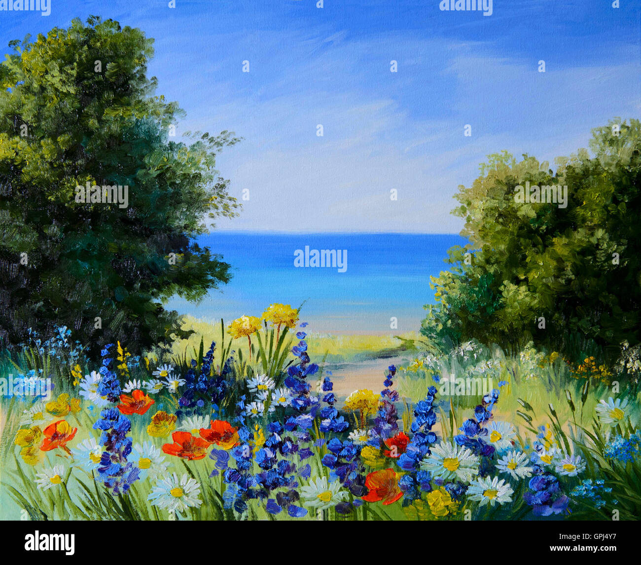 Pittura di olio paesaggio - campo vicino al mare, fiori selvatici, artwork, sfondo Immagini Stock