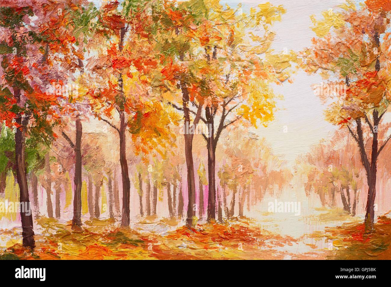 Pittura di olio paesaggio - colori d'autunno foresta Immagini Stock