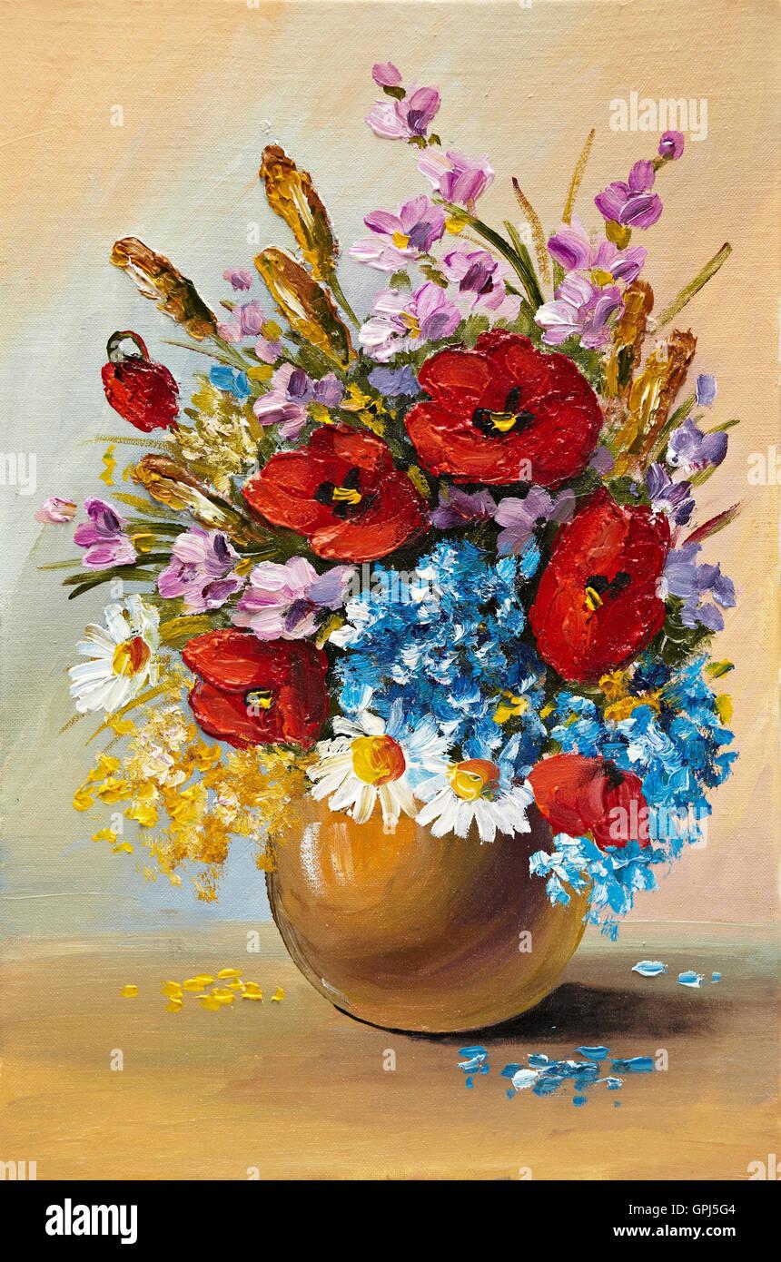 Dipinto ad Olio di fiori di primavera in un vaso su tela. Disegno ...