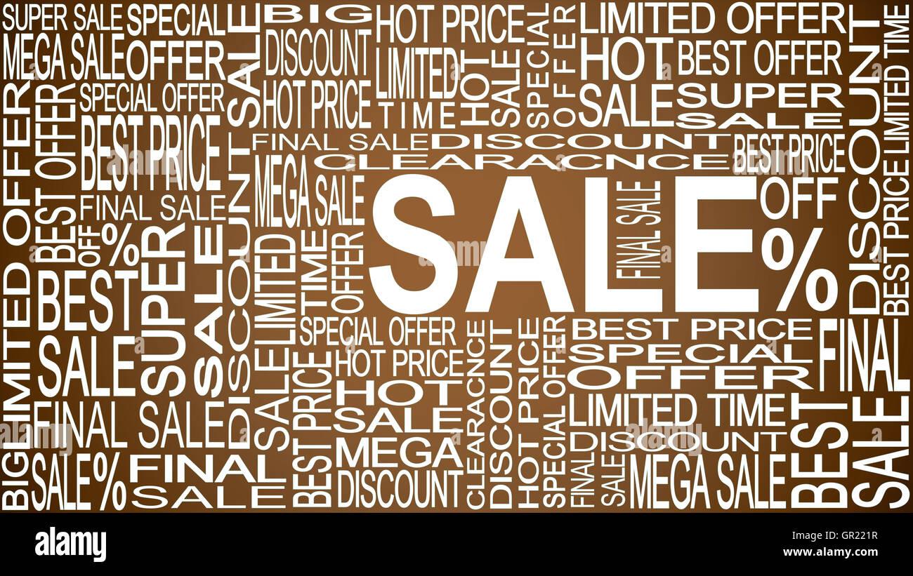 La vendita di parole. Le vendite promozionali. Negozio vendita concetto. Immagini Stock