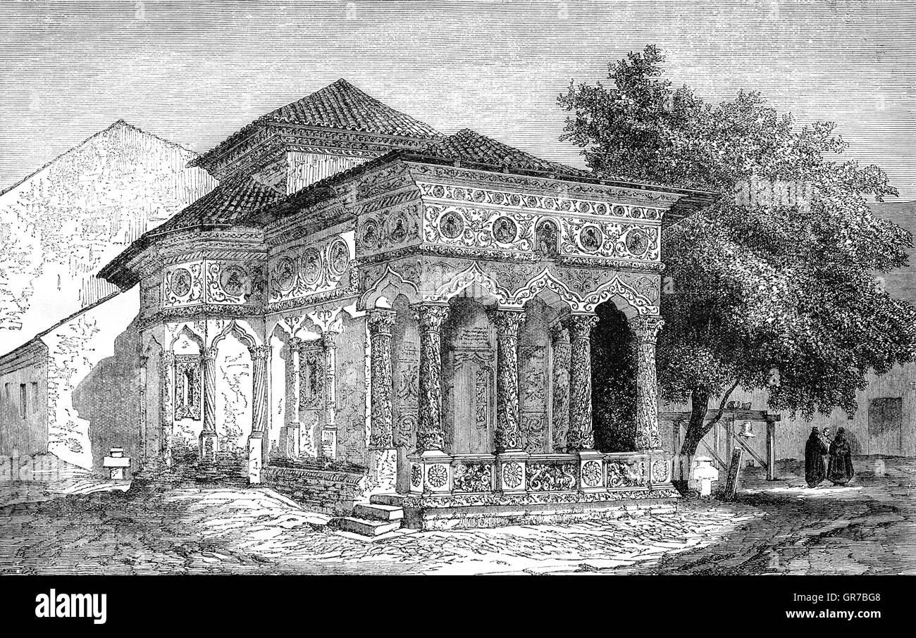Una chiesa del diciannovesimo secolo a Bucarest, in Romania. Il Wallachian Rivoluzione del 1848 era un liberale Immagini Stock