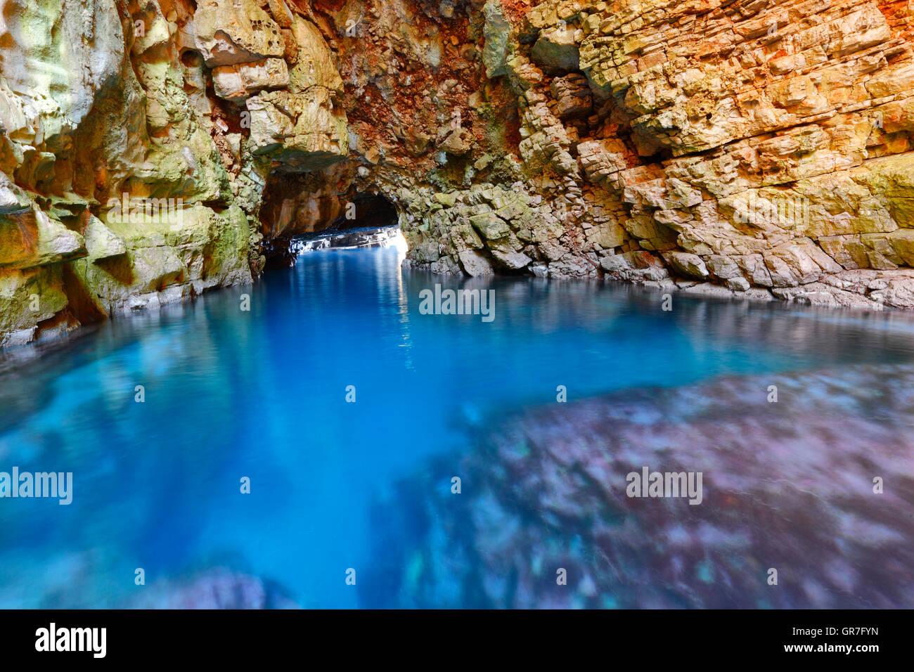 Grotta Odysseys sull isola di Mljet Immagini Stock