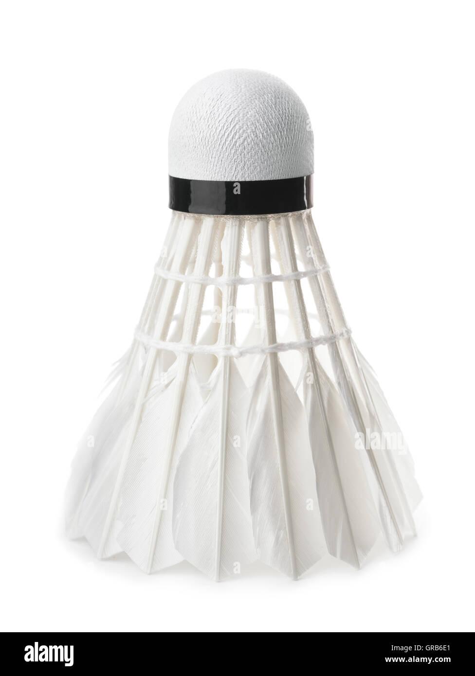 Bianco di piume di badminton volano isolato su bianco Immagini Stock