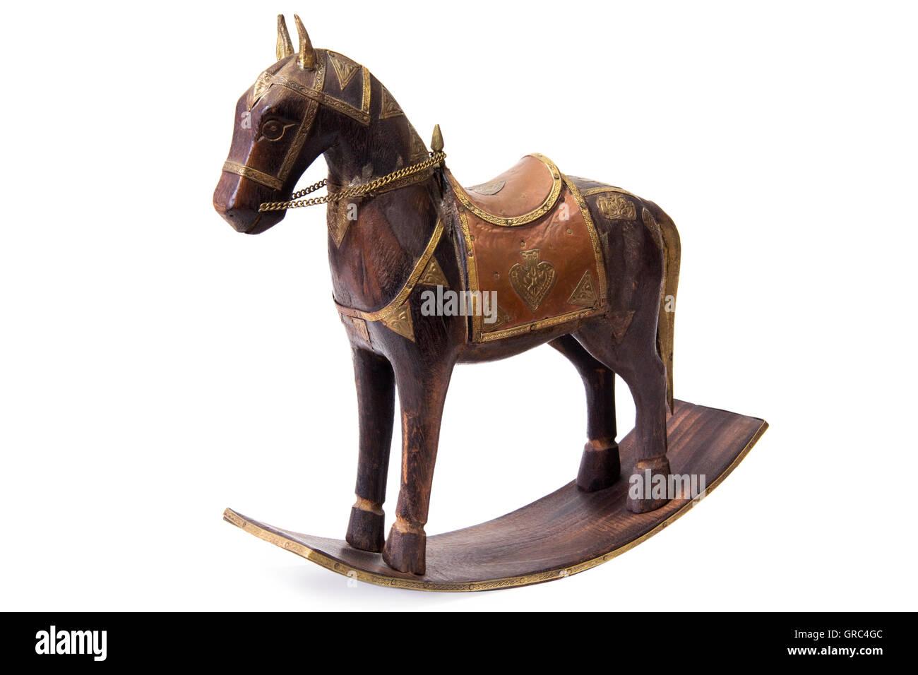 Cavallo A Dondolo Artigianale.Scolpiti In Legno Cavallo A Dondolo Figurina Su Sfondo