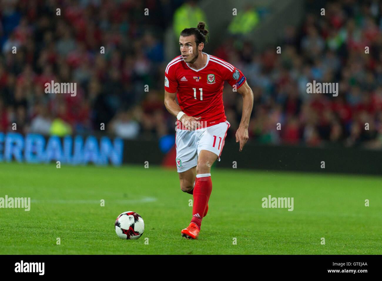Calciatore gallese Gareth Bale in azione per il Galles squadra di calcio. Immagini Stock