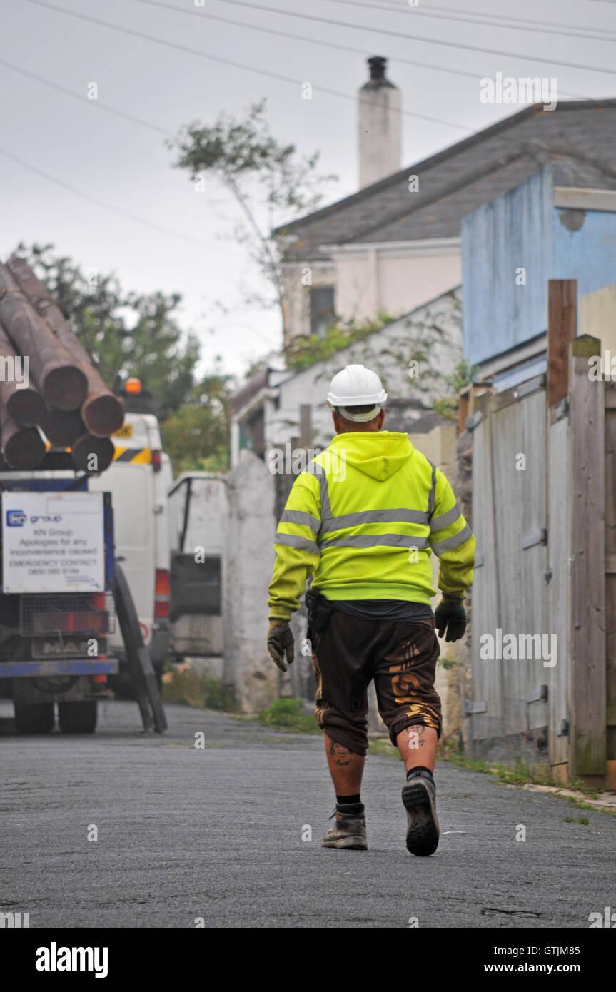 Un costruttore in Falmouth, Cornwall Immagini Stock
