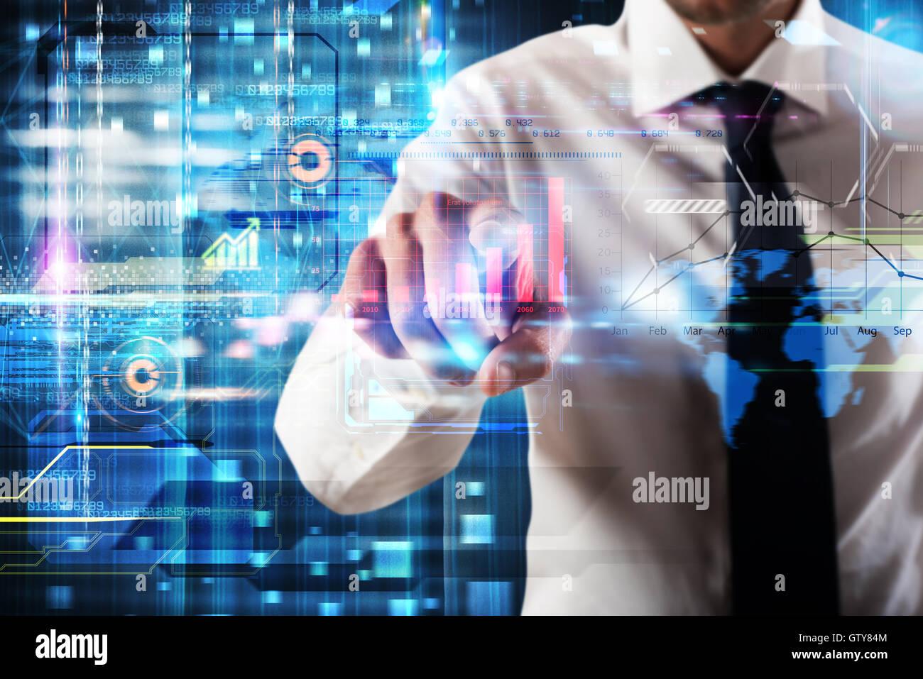 Schermo virtuale business system Immagini Stock