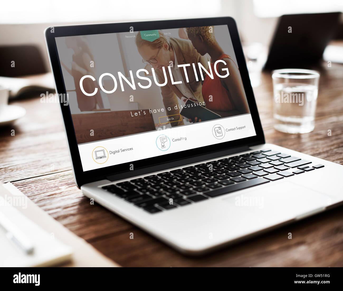 Consultazione di consulenza e assistenza suggerimento il concetto di orientamento Immagini Stock