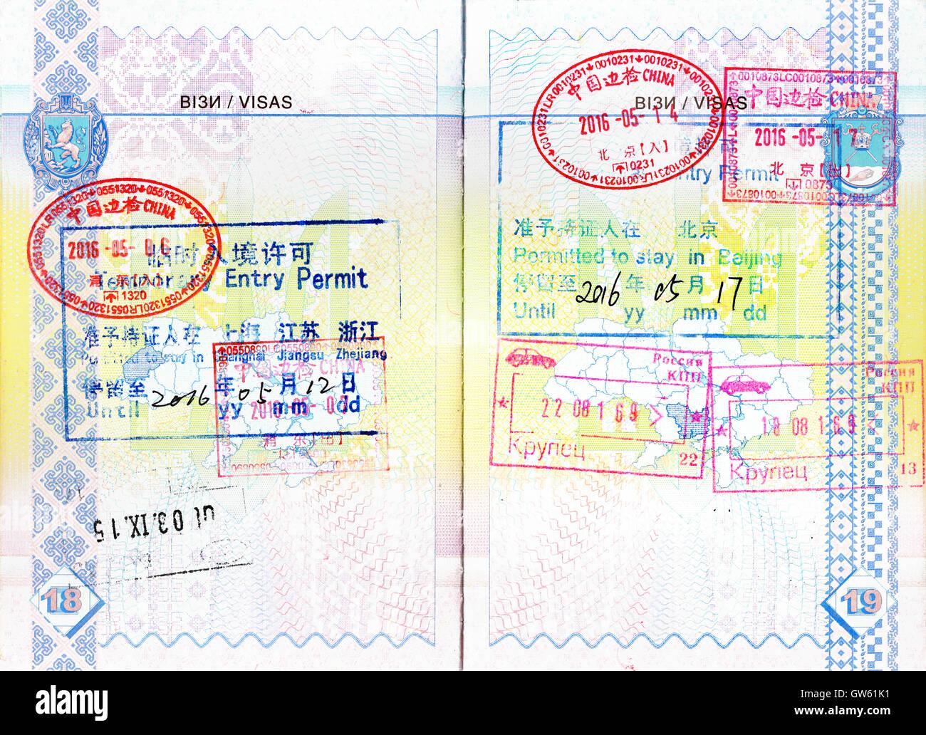 Passaporto Francobolli di Cina e Russia, i permessi di ...