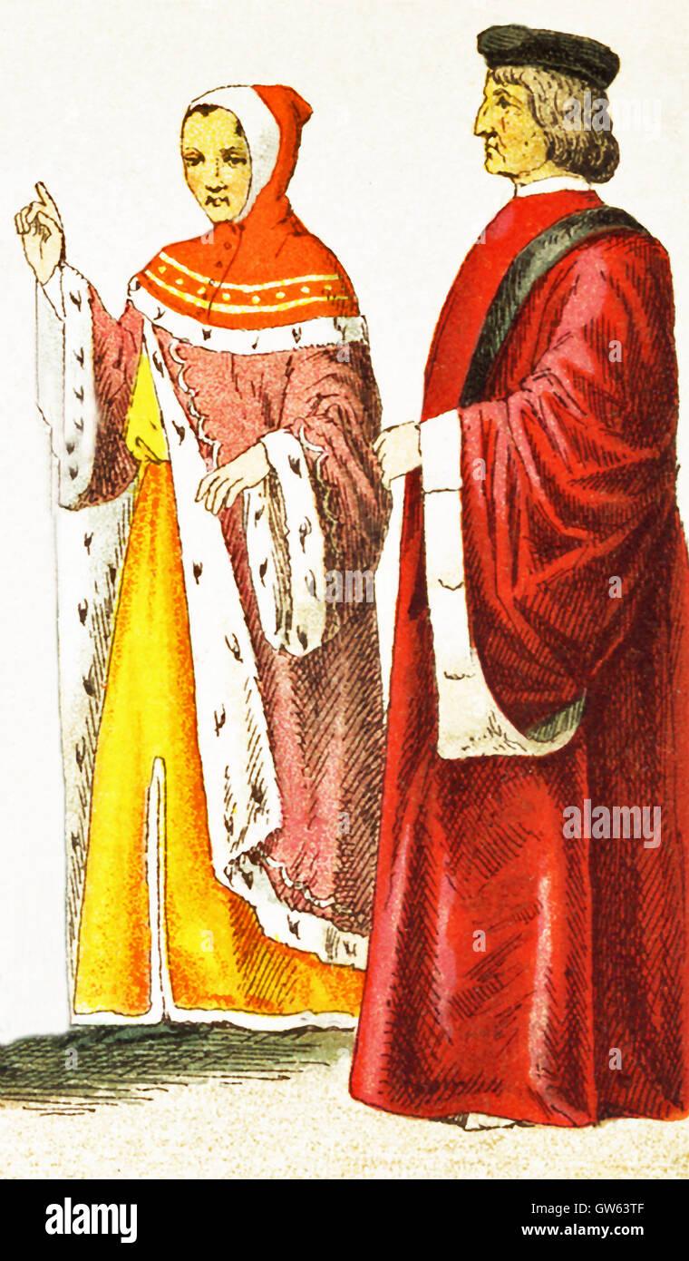 I dati italiani rappresentati qui data a A.D. 1400. Essi sono, da sinistra a destra: un magistrato fiorentino e Foto Stock