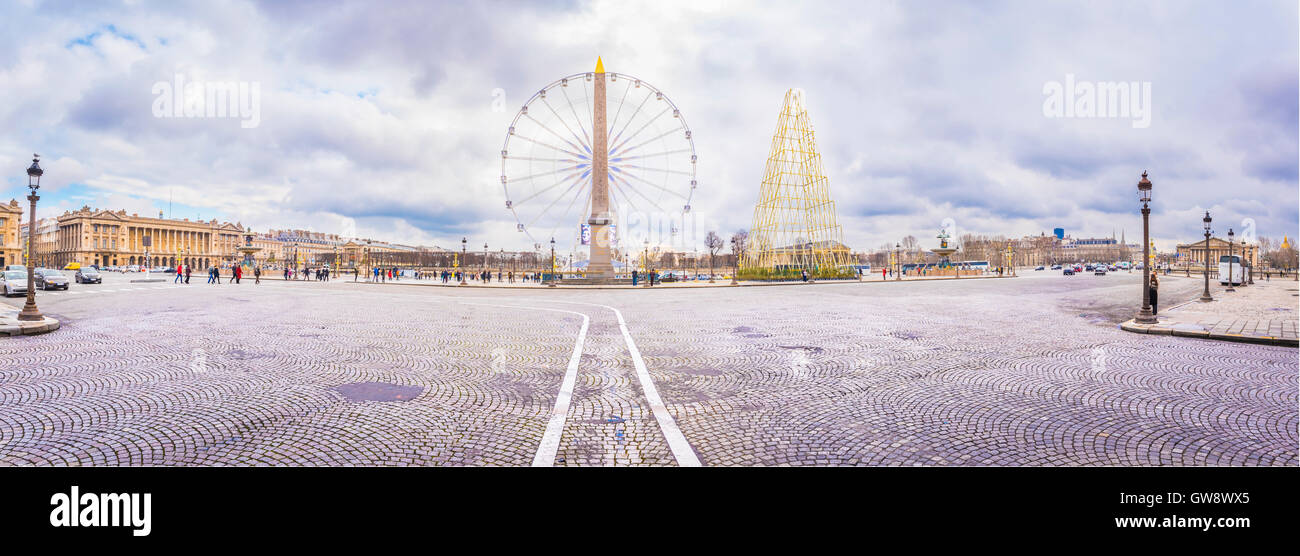 Panorama con la Place de la Concorde a Parigi Immagini Stock
