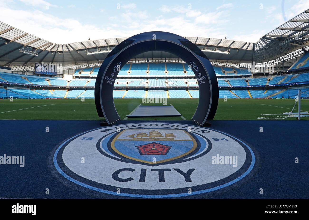 Una vista generale dell'Etihad Stadium prima della Champions League tra Manchester City e Borussia Monchengladbach. Immagini Stock
