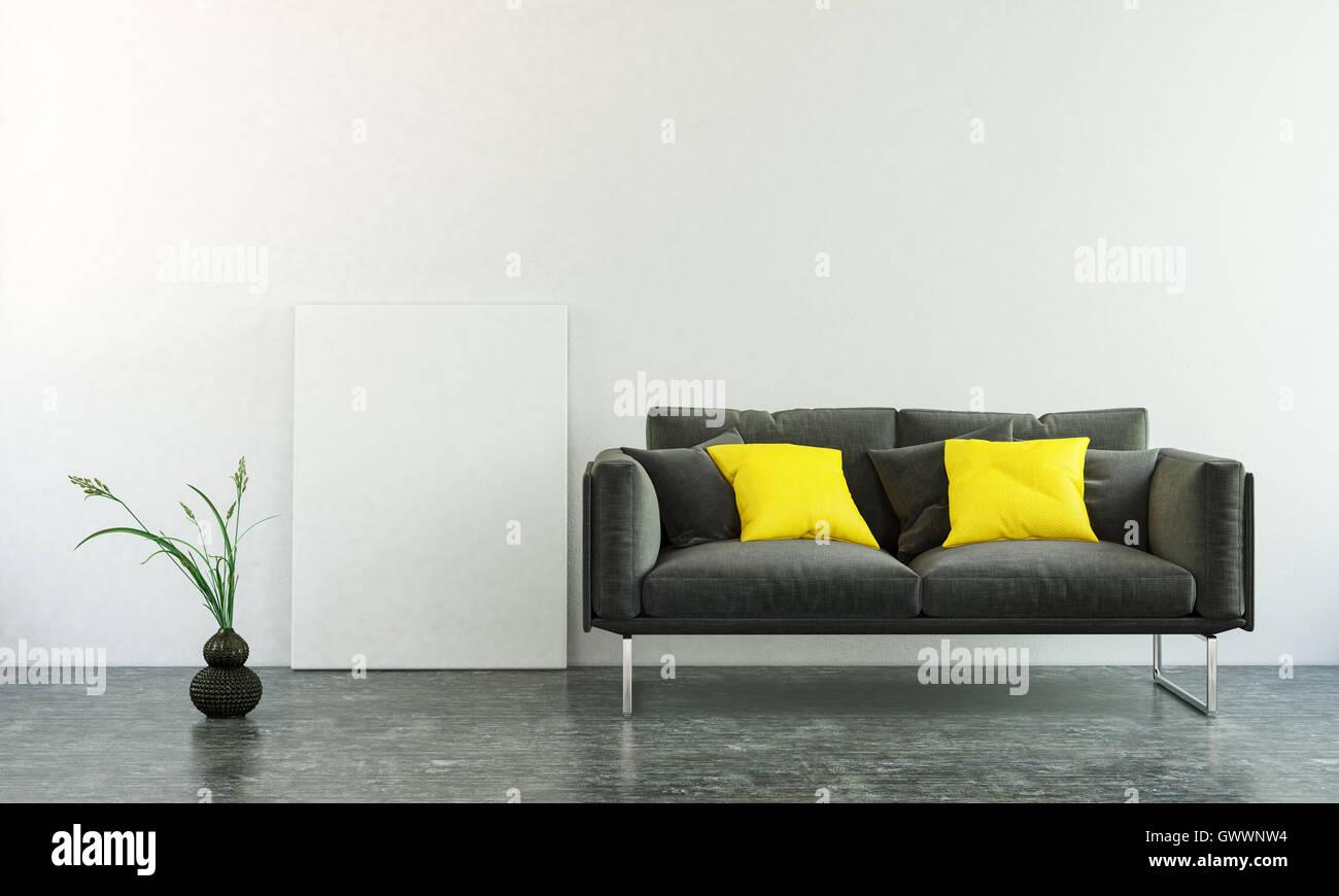 Divano Nero Cuscini : D interni scena del divano nero con due cuscini quadrati