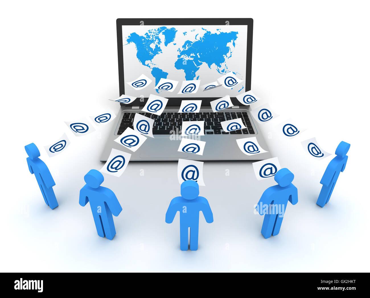 E-mail concetto 3d illustrazione Immagini Stock