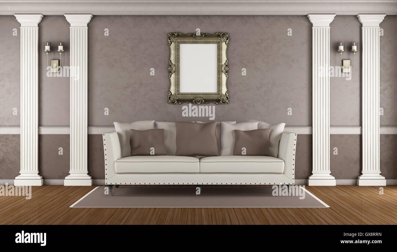 Marrone classico soggiorno con divano elegante lesena bianco e
