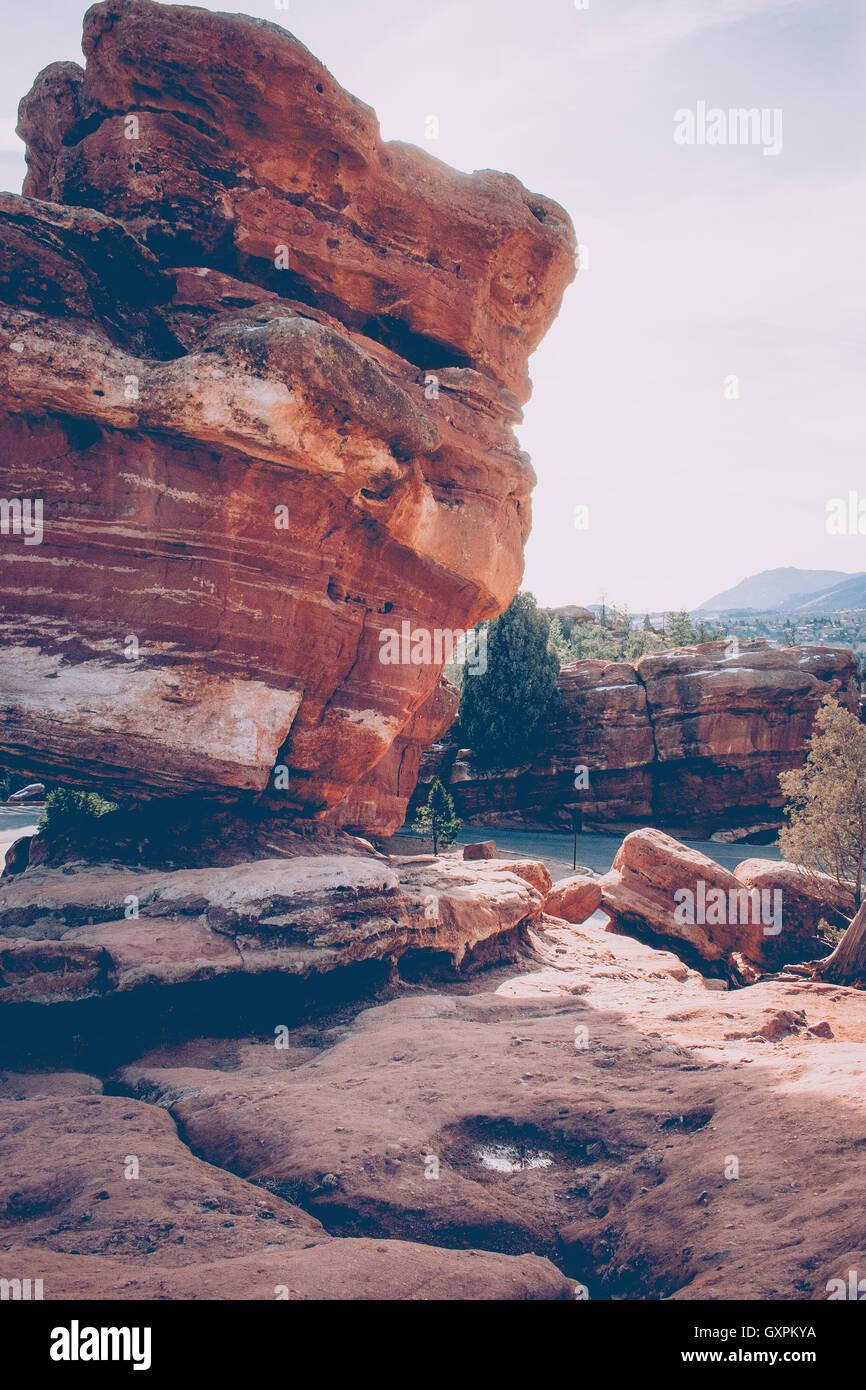 Roccia pendente al Giardino degli Dei Immagini Stock