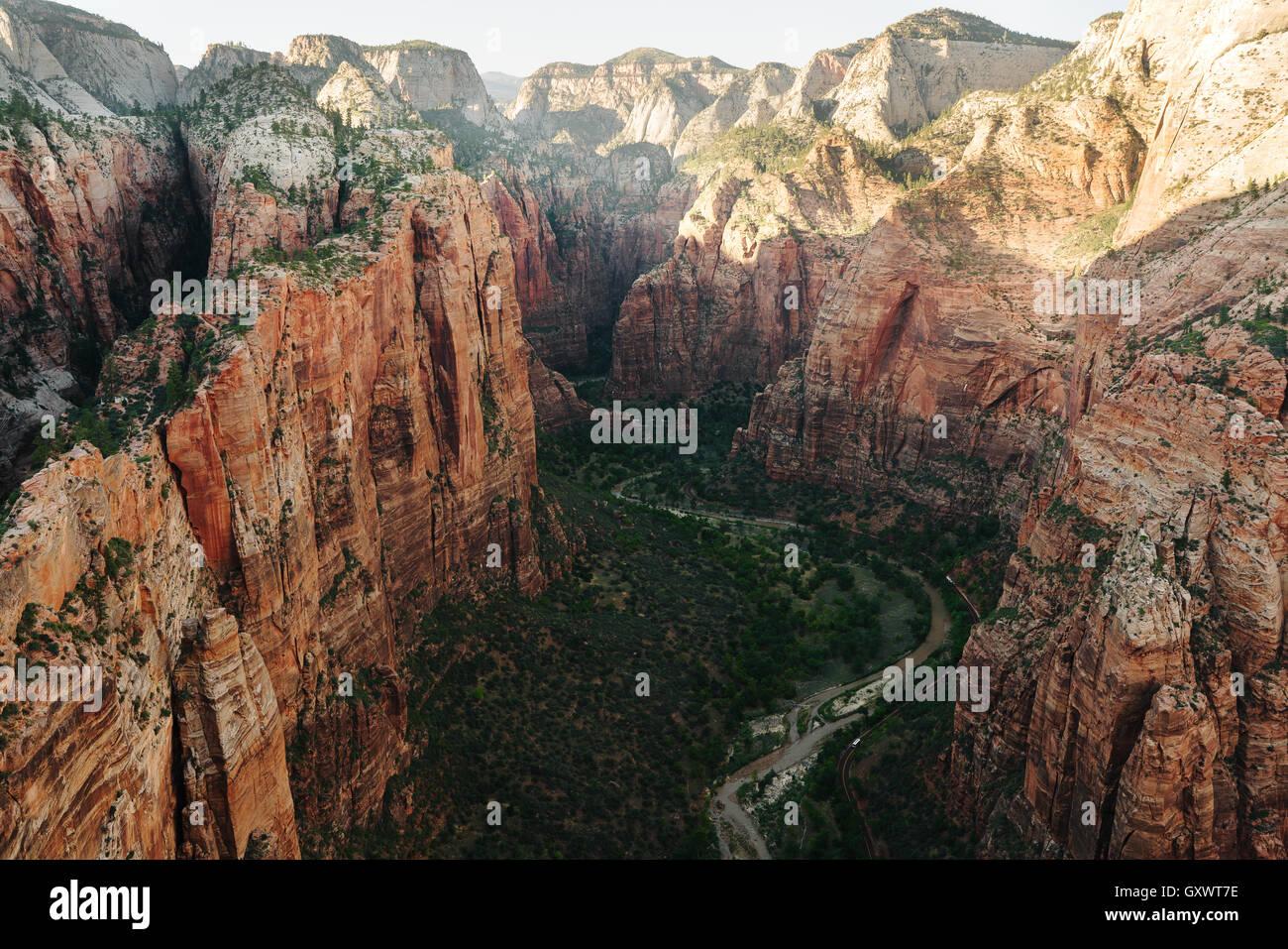 Vista da angelo lo sbarco nel Parco Nazionale di Zion Immagini Stock