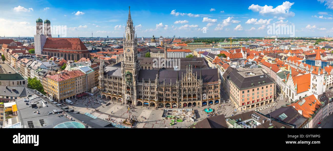 Monaco di Baviera skyline della città panorama, Germania Immagini Stock